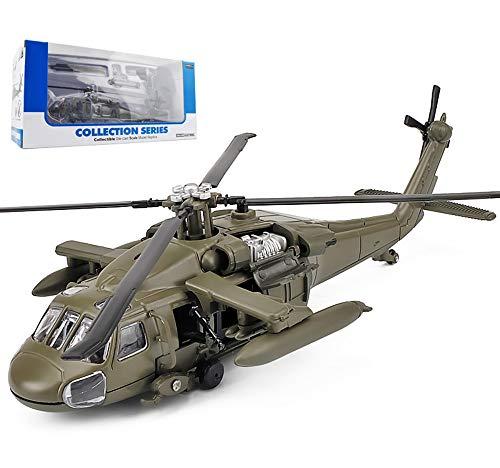 Giocattolo di modello di aeroplano, modello di elicottero militare black hawk in scala 1: 64 per bambini (2,75 pollici * 1,93 pollici * 1,38 pollici),grigio