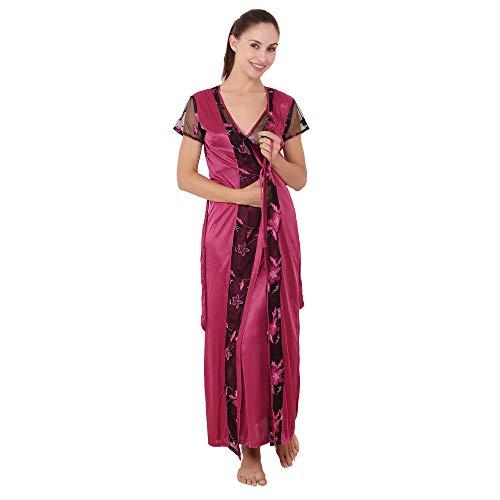 Kanika Purple Satin Self Design Free Size Nighty with Robe for Women
