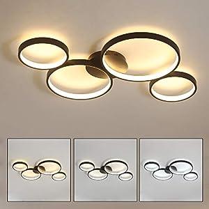 LED Dimmbar Deckenleuchte, 4 Ringe Deckenlampe Rund, Modern Deckenbeleuchtung, Schwarz Wohnzimmer Deckenlicht, Decke Schlafzimmer Lampe
