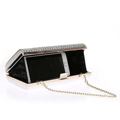 KAXIDY Clutch Handschlaufe Unterarmtasche Abendtasche Umhängetasche Silber