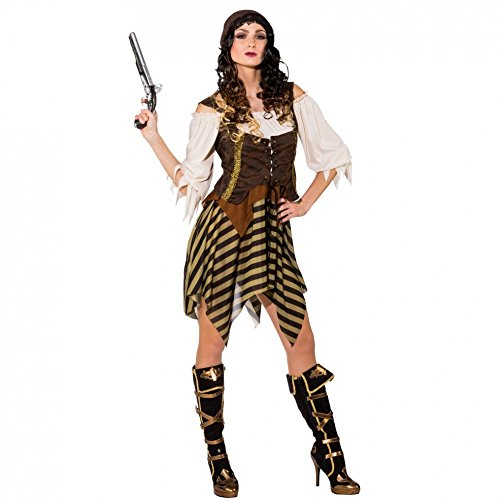 Kostüm Piratin Hope Gr. S/M Kleid grün/beige Kopftuch Fasching Seeräuberin (Der Karibik-stiefel Fluch)