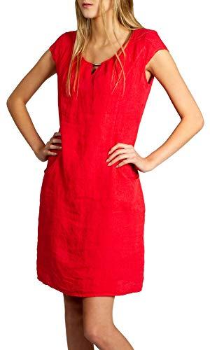 Caspar SKL020 knielanges Damen Sommer Leinenkleid mit dezenter Metallspange bis Größe 50, Farbe:rot, Größe:XXL - DE44 UK16 IT48 ES46 US14 (Rote Kleider In Plus-größe)