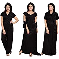 Kinu Touch Women's Satin Nighty 4 Set (Housecoat, Nighty, Top, Pyjama) (Free-Size 28 to 36 Regular)