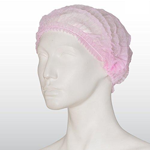 100 Stück Einweghauben rosa / pink - Klipphauben - Vlies-Haube Clip - Größe L, 52 cm Durchmesser, (100-er Pack) - Schwesternhaube aus Vlies (Kopfhauben Einweg)