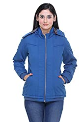 Trufit Full Sleeves Solid Womens Royal Blue Removable Hood Printed Lining Golden Zip Cotton Jacket