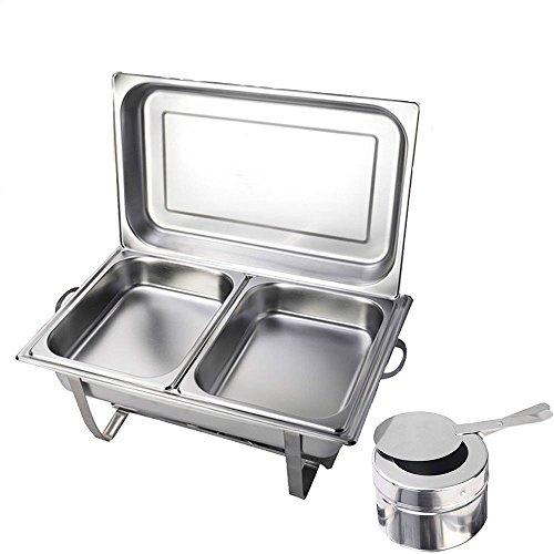 OUKANING Chafing Dish Profi Set, 2X Edelstahl Warmhaltebehälter, Wärmebehälter, Rechaud, Chafing Dishes, Speisenwärmer, für Catering, Buffet und Party