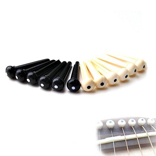 Preisvergleich Produktbild ASIV Akustische Gitarre Saite Brücke Pin 12-Pack, Creme weiß mit schwarzer Punkt