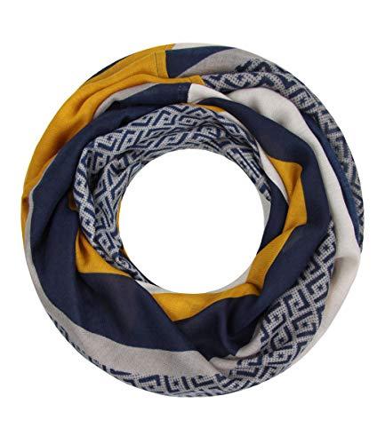 Majea NEUE Kollektion Damen Loop Schal viele Farben Muster Schlauchschal Halstuch in aktuellen Trendfarben (senf-gelb 14)