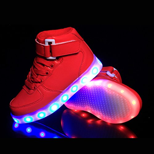DoGeek LED Schuhe Kinder Damen 7 Farbe USB Aufladen Leuchtend Sportschuhe Led Kinder Farbwechsel Sneaker Turnschuhe für Herren Damen Rot