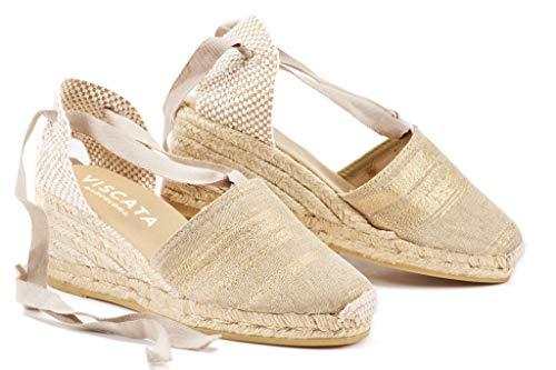 Zehen-canvas-espadrille (VISCATA  Classic Espadrilles Heel Made in Spain, Gold - 39 M EU)