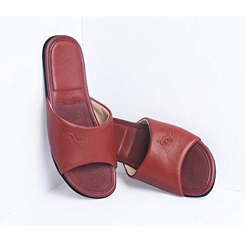 Leder Pantoffeln KENROLL Gummisohle Hausschuhe Sommerurlaub Hausschuh Größen Zehentrenner Flip Flops für Herren für Damen Scharlachrot