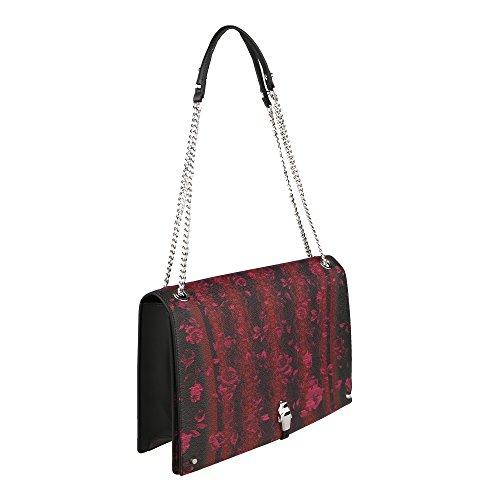 Roberto Cavalli Class Frau Boston Tasche 31x20.5x8 Cm Mod. C63PWCLZ0032B02 Schwarz Rot