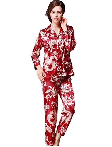 Herren Pyjama-Sets Langarm-Kragen-Anzug + Hosen Nachtwäsche Frau Mode Innenkleidung Seide Luxus Baden Sauna Kleidung Bademantel Zwei Stücke Sets, Women - Womens Ein Stück Kleidung