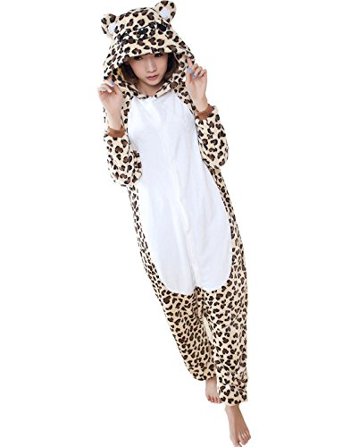 Triseaman Unisex Erwachsene Halloween Kigurumi Pyjamas Tier Onesie Leopard Bear (Kostüm Bear Panda Halloween)