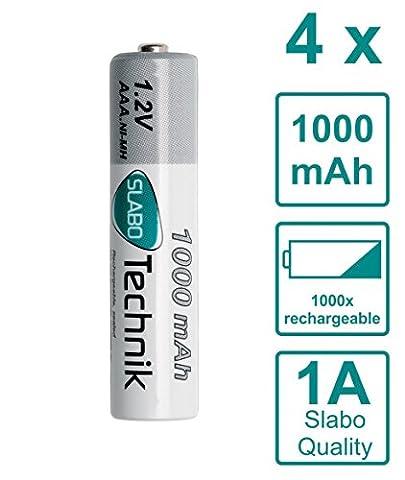 Slabo Ni-MH Piles Micro AAA rechargeables 1000mAh / 1.2V - Lot de 4