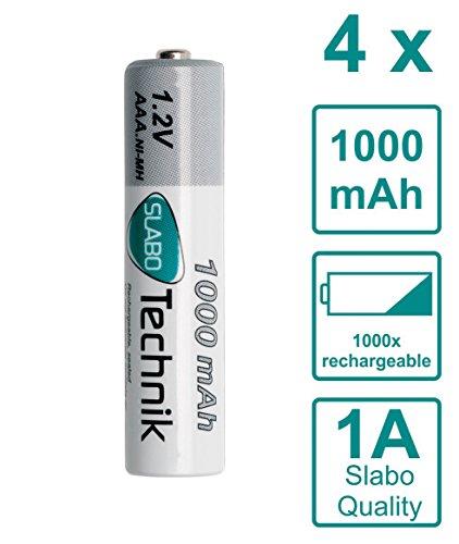 Slabo NI-MH AAA Akku Micro Batterien AAA wiederaufladbar Rechargeable Batterie 1000mAh / 1.2V - 4er-Pack