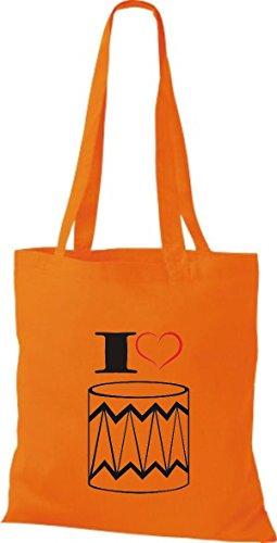 Shirtstown Stoffbeutel Musik I love Trommel Orange