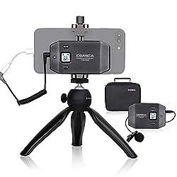 Comica Lavalier Mikrofon Smartphone Wireless CVM-WS50(C) Funkmikrofon Kabellos, UHF 6 Kanäle, 60m Reichweite, integrierte aufladbare Batterie, Handheld-Stativ, für Handy iPhone Samsung Android