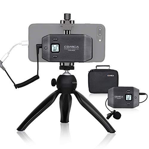 comica CVM-WS50(C) Microfono Smartphone Video, Microfono per Smartphone Wireless con 6 Canali UHF, Microfono Intervista Smartphone, Microfono per Smartphone Come iPhone Samsung Huawei e Altro