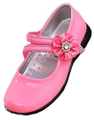 La Vogue Ballerine Enfant Fille Vernies Souple Princesse Fleurs Strass Chaussure Ville Baptême (28/17.5cm, Rose)