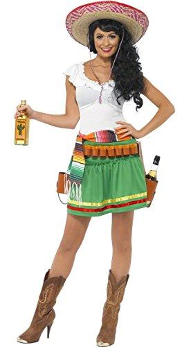 KULTFAKTOR GmbH Mexikanerin Tequila Damenkostüm Weiss-grün - Machen Schnapsglas Kostüm