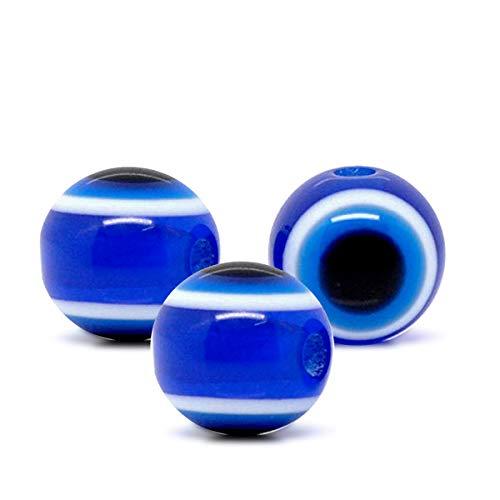 YouFia 100 Stücke Dunkelblau Böser Blick Evil Eye Resin Blaues Auge Perlen Beads zum Basteln 2x10mm -