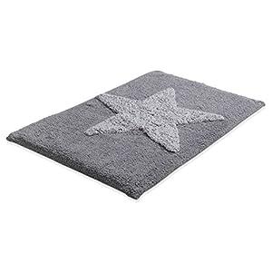 Badematte Badteppich Badezimmerteppich STERN 1 | 50 x 80 cm | Grau-Weiß | Baumwolle