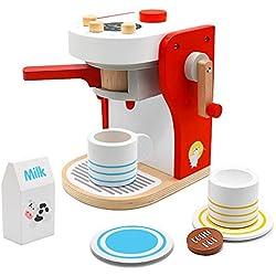 PL Machine a Cafe Enfant Jouet Bois Jeux Imitation Cuisine Électroménagers Cafetiere Enfant 3 4 5 Ans Filles Garcons