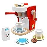 PL Macchina Caffe Giocattolo in Legno Cucina Bambini Giochi Legno Regalo Ragazza Ragazzo 3 4 5 6 Anni, Gioco di Ruolo 9 Pezzi