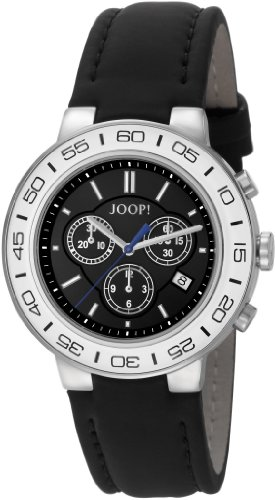 Joop Insight - Reloj de cuarzo para hombre, con correa de cuero, color negro