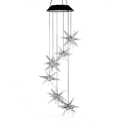 Variation de couleur Meteor Fonctionne à l'énergie solaire Mobile, Anzome spirale Spinner Carillon Vent Bell lumière pour patio, terrasse, cour, jardin, maison, allée