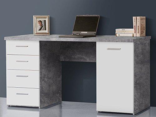 Schreibtisch Bürotisch Computertisch Arbeitstisch Laptoptisch Bürmöbel Balu I Beton/Weiß