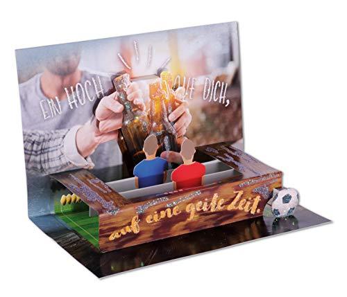 3D Pop - UP Karte Geburtstag, Geburtstagskarte 3D, POP - UP Karten, POP UP Karten Geburtstag, Geburtstagskarte lustig, Motiv: Fußball