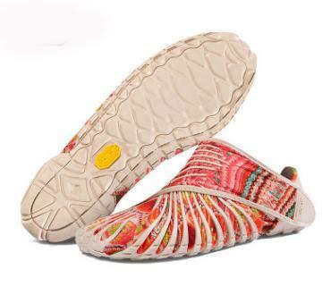 YUIL-S Zapatos Envueltos Vibram Furoshiki, Hombres Y Mujeres Parejas Zapatillas De Viaje Almacenamiento Portátil Transpirable Zapatos Casuales,Pink,XL