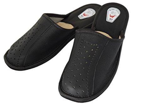 Natleat SlippersNatural Leather Mens Slippers - Sandali con Zeppa Ragazzi uomo Black