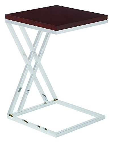 Work Smart/Ave Six Wall Side Table, Espresso/Chrome Finish
