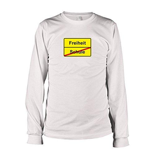 TEXLAB - Schluss mit Schule Schild - Langarm T-Shirt Weiß
