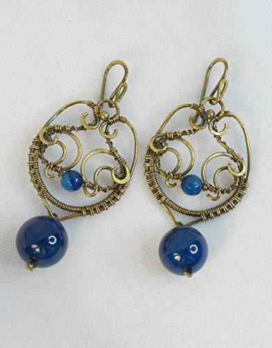 Orecchini ottone vintage antichi blu pietre dure oro regalo festa mamma laurea gioielli design donna azzurri pendenti goccia grandi