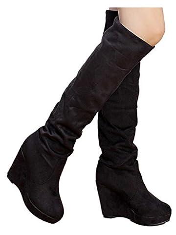 SOMESUN Hiver Femmes Talon Haut Longue Bottes Hiver Chaud Cales Au-dessus du genou Talon haut Plate-forme Bottes Chaussures (37, Noir)
