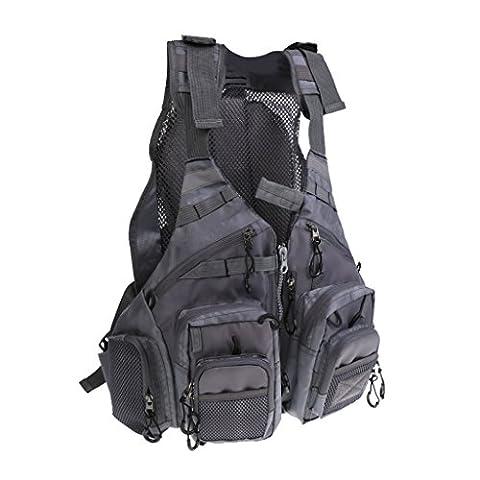MagiDeal Veste de Pêche Gilet de Survie Tactique Vêtement équipement pour Natation Navigation Sport Camping - Gris, Unique