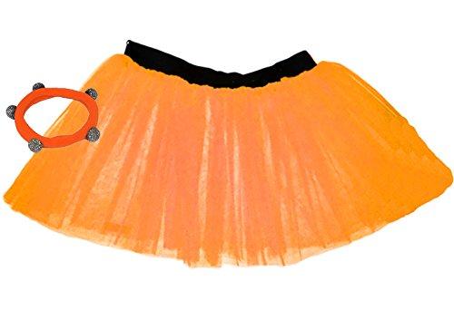 A-Express Tütü Rock Neon Tutu Netz Tüllrock 3 Lagen Petticoat für verrücktes Kleid Party Kostüm - (Orange, Größe 34-44) (Kostenloser Versand Express Kostüm)