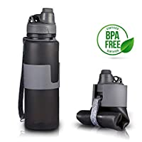 M&J Collapsible Water Bottle 22oz - BPA Free - Reusable Portable Leakproof Silicone Twist Cap Lightweight Water Bottle for Travel, Gym, Hiking, Sports & Camping