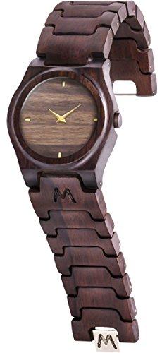 MATOA Gili - Orologio in legno, fatto a mano, in legno di ebano Macassar riciclato