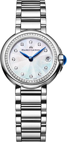 Maurice Lacroix FA1003-SD502-170 Ladies Fiaba Round Silver Watch with Diamonds
