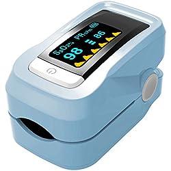 YZCX Oxymètre de Pulse Numérique avec l'Indicateur OLED pour Mesurer le Niveaux d'Oxygène artérielle SpO2 et du Pouls, l'Opération dans un seul Bouton, Facile à Utiliser à la Maison (Bleu)