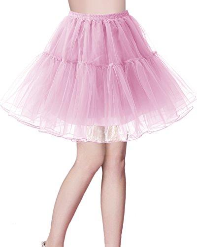 Bridesmay Kurz Retro Petticoat Rock 1950er Vintage Tutu Ballett Unterkleid Rosa S