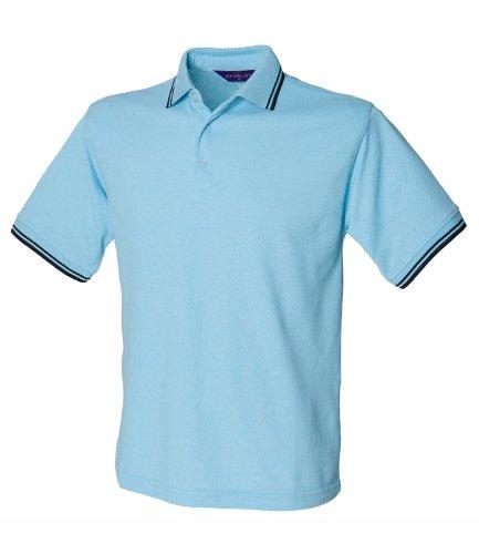 Henbury Herren Polo Shirt Tipped Sky Navy Tipping