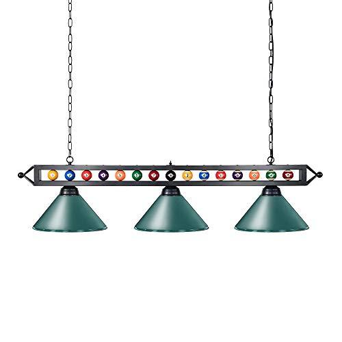 Wellmet Billardlampe 3-Licht Kücheninsel Pendelleuchte, 150cm Billardtischlampe geeignet für 213-274cm Billardtisch, mit Mattem Metallschirm, Grün
