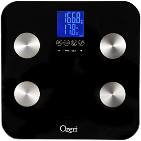 Ozeri Touch - Bilancia Digitale da Bagno (portata 200kg / 440 lbs)) - Misura Peso, Grasso Corporeo, Idratazione, Massa Muscolare e Ossea con tecnologia di Riconoscimento Automatico di 8 Profili Personali impostabili