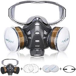 NASUM Respirateur de Protection avec des Lunettes Fixes / 2 Boîtes / 2 Cotons Filtrants, Masque Réutilisable Anti-Poussière/Particule/Vapeur/Gaz, pour Pulvérisation/Peinture/Agriculture/Bricolage
